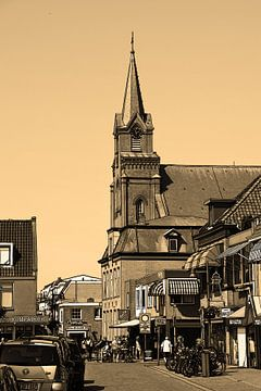 Sint Agnes Kirche Voorstraat Egmond aan Zee Niederlande Sepia von Hendrik-Jan Kornelis