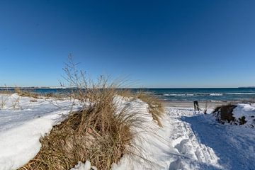 Duinen in de sneeuw, strand in Juliusruh op het eiland Rügen van GH Foto & Artdesign