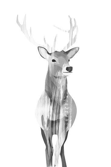 Deer (black white) von Goed Blauw