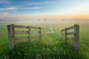 Paysage des polders néerlandais au lever du soleil