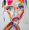 Topaz Secret - Buntes abstraktes Porträt einer mysteriösen Frau mit blauen Augen von Roger VDB Miniaturansicht