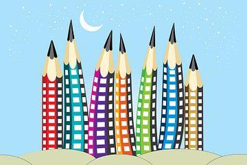 Bleistifte wie Wolkenkratzer vor einem hellblauen Himmel von Henny Hagenaars