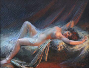 Liggend naakt, Delphin Enjolras (1857-1945) van Atelier Liesjes