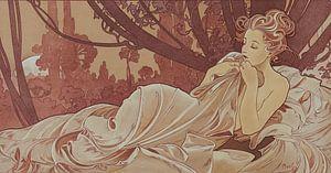Schemer Schilderij Liggende Dame Slapende Schoonheid I - Art Nouveau Schilderij Mucha Jugendstil van