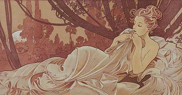 Schemer Schilderij Liggende Dame Slapende Schoonheid I - Art Nouveau Schilderij Mucha Jugendstil sur