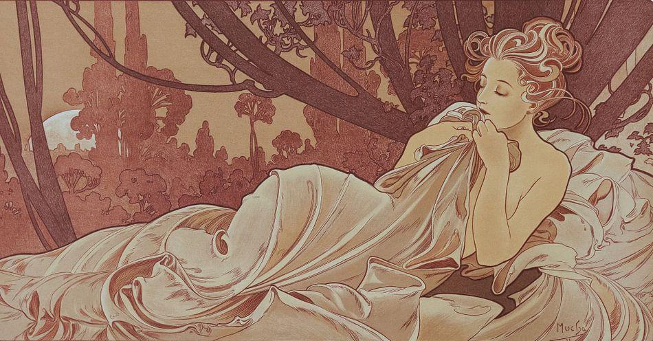 Schemer Schilderij Liggende Dame Slapende Schoonheid I - Art Nouveau Schilderij Mucha Jugendstil van Alphonse Mucha
