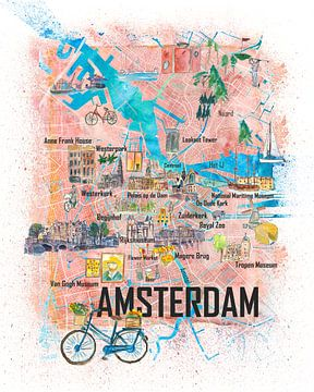 Carte illustrée des Pays-Bas d'Amsterdam sur Markus Bleichner