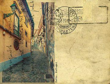 oude retro postkaart van Porto, van