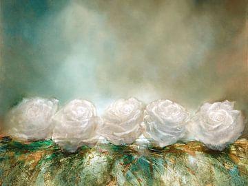Sneeuwrozen - witte rozen als sneeuwvlokken