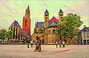 Kleurrijk werk van Vrijthof Maastricht: Sint Servaasbasiliek en Sint-Janskerk van Slimme Kunst.nl