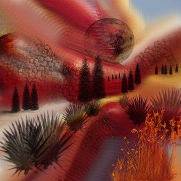 Landschap rood van Raina Versluis
