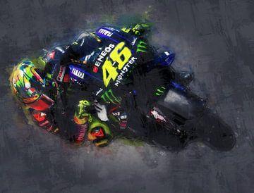Valentino Rossi (oil paint) 3 van 3 van Bert Hooijer