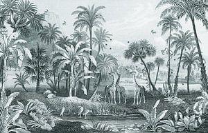 Botanischer Vintage-Dschungelteller mit Giraffen und Vögeln von Studio POPPY