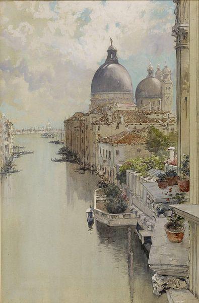 Francis Hopkinson Smith~Über einem Balkon, Blick auf den Canal Grande, Venedig von finemasterpiece