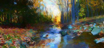 Bos en meer in de herfst van Angel Estevez