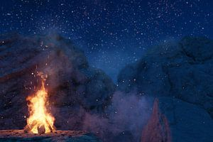 laaiend kampvuur voor de rotsen en sterrenhemel van Besa Art