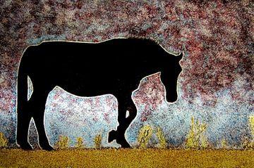 Brandschildering Lonely Horse van ruud harberts