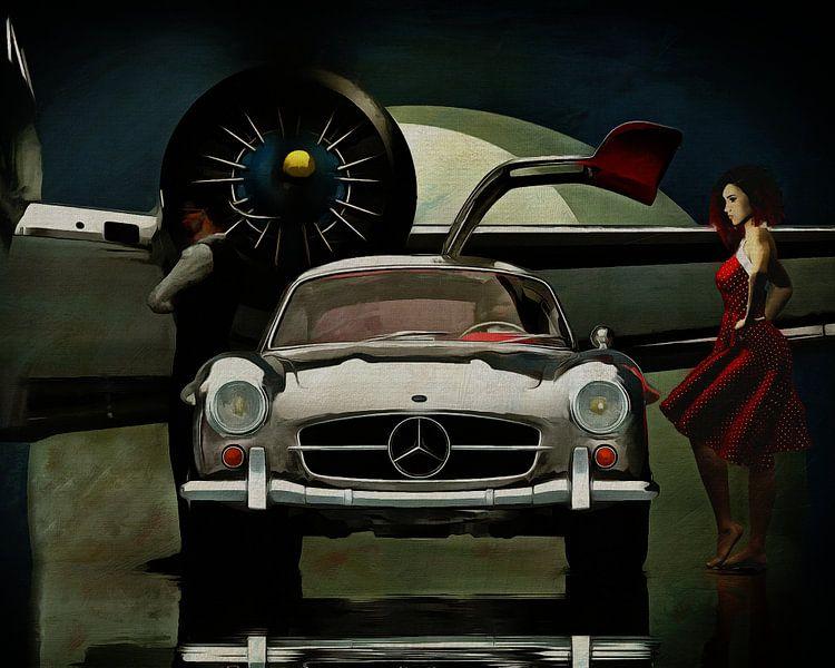 Mercedes 300SL gaat ergens heen.... van Jan Keteleer