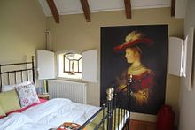 Klantfoto: Saskia en profil in rijk gewaad - Rembrandt, op behang