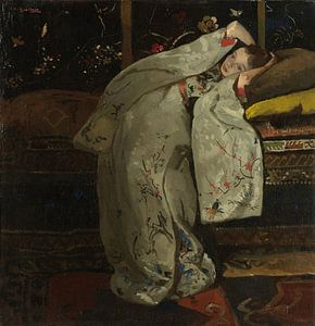 Schilderij Het meisje in de Witte Kimono van Breitner