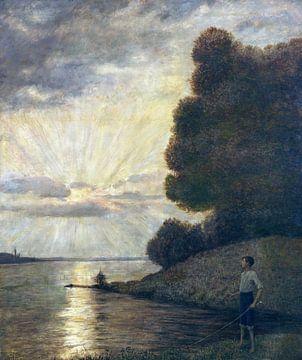 Zonsondergang op de Bovenrijn, HANS THOMA, 1916 van Atelier Liesjes