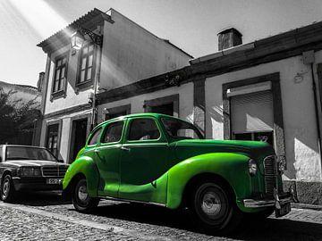 Groene  Austin A40 Devon oldtimer van Daan Duvillier