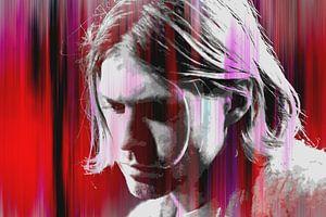 Kurt Cobain Abstraktes Porträt in Rot-Rosa