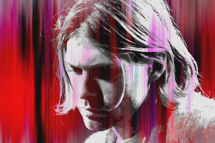 Kurt Cobain Abstraktes Porträt in Rot-Rosa von Art By Dominic