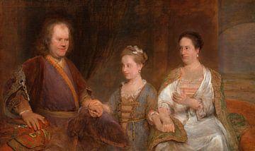 Hermanus Boerhaave mit seiner Frau Maria Drolenvaux und ihrer Tochter Johanna Maria, Aert de Gelder