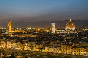 Skyline van Florence bij zonsondergang van Mike Baltussen