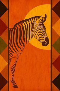 Afrika kleuren met zebra van
