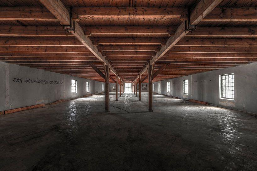 Symmetrie in de verlaten en vervallen Ringersfabriek in Alkmaar van Sven van der Kooi