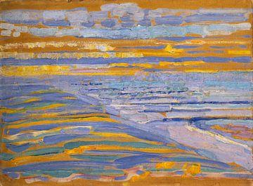 Blick auf Strand und Pier von den Dünen aus, Domburg, Piet Mondrian - 1909