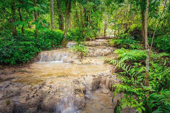 Stroomversnelling door het bos bij de Kuang Si waterval, Laos