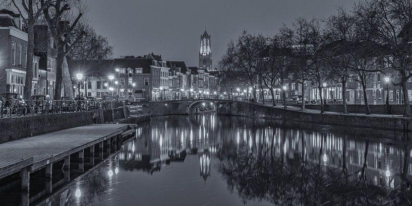 Oudegracht, Zandbrug und Domtoren in Utrecht am Abend von Tux Photography