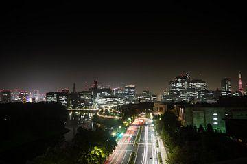 Skyline van Tokio in de nacht van Marcel Alsemgeest