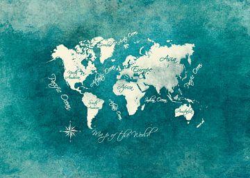 Weltkarte grün blau weiß #Karte #Weltkarte von JBJart Justyna Jaszke