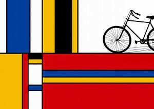Piet Mondriaan met fiets