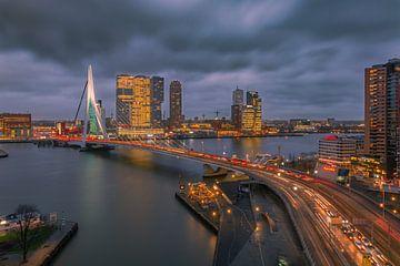 Skyline Rotterdam met Erasmusbrug van Arisca van 't Hof