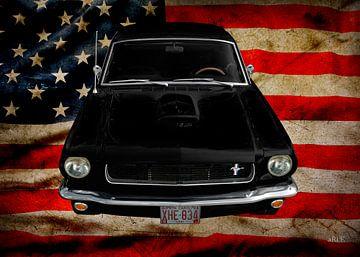 Ford Mustang 1 met Amerikaanse vlag van aRi F. Huber