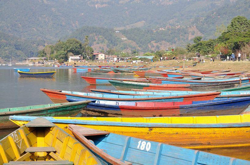 Kleurrijke boten bij het Phewa meer te Pokhara (rechthoek) van Wiljo van Essen