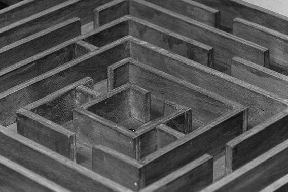Labyrint in zwart wit