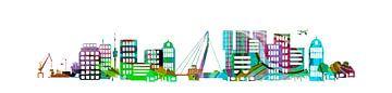 Skyline Rotterdam gestileerd in kleur van Anouschka Hendriks
