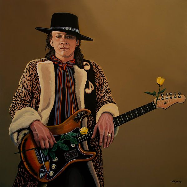 Stevie Ray Vaughan Schilderij 2 van Paul Meijering