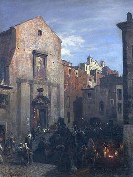 Italiaans stadsgezicht bij het vallen van de avond, OSWALD ACHENBACH, Ca. 1857 van Atelier Liesjes