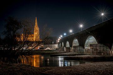 Regensburg Steinernen Brücke am Abend von Thilo Wagner
