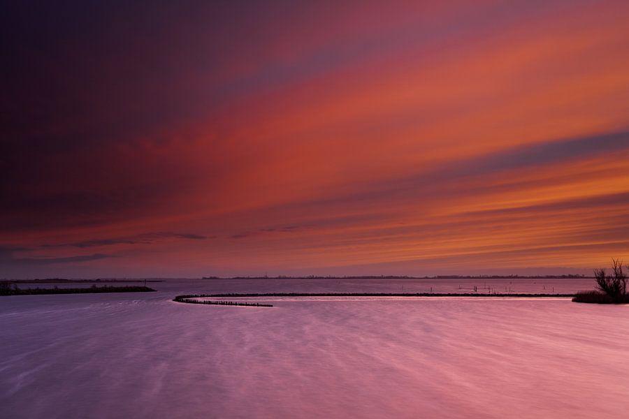 Lauwersmeer zonsondergang van Aland De Wit
