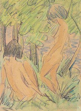 Twee meiden in het bos, Otto Mueller - ca1924 van Atelier Liesjes