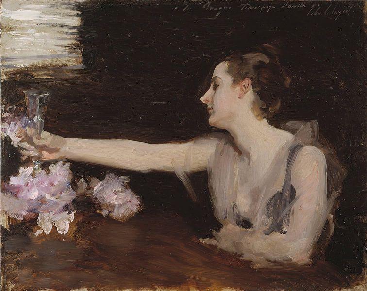 John Singer Sargent-Madame Gautreau trinkt einen Toast von finemasterpiece