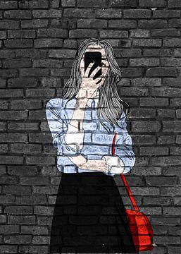 Junge Frau mit Handy Graffiti Mauer Design von KalliDesignShop